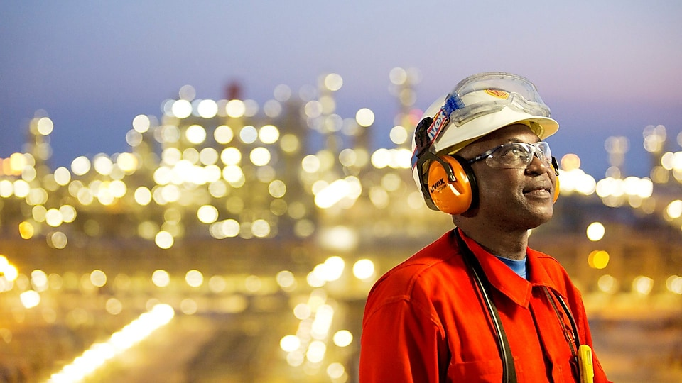 A Shell employee working on an offshore platform