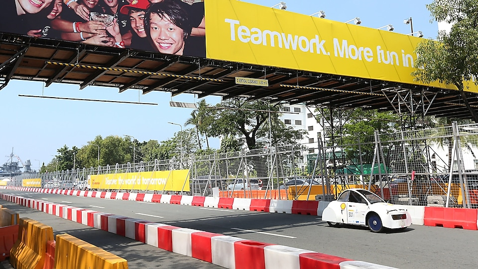 The Cikal ethanol, #501, a ethanol UrbanConcept vehicle from team Cikal ethanol at the Institut Teknologi Bandung in Bandung, Indonesia, on the track during day three of the Shell Eco-marathon Asia, in Manila, Philippines, Saturday, March 5, 2016