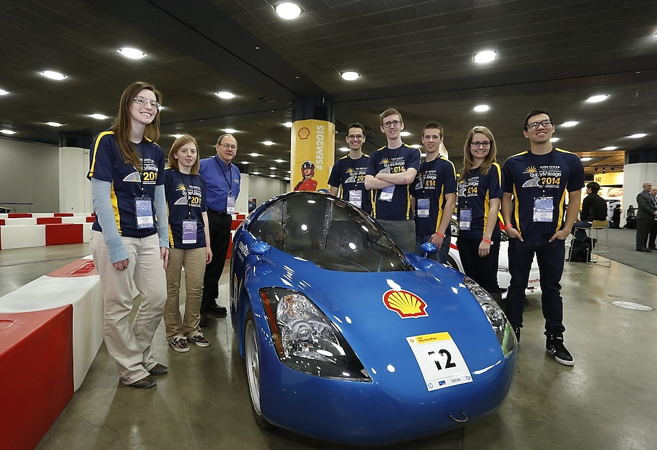 Cedarville University students took their UrbanConcept entry for Shell Eco-marathon Americas to the track at Detroit's NAIAS.