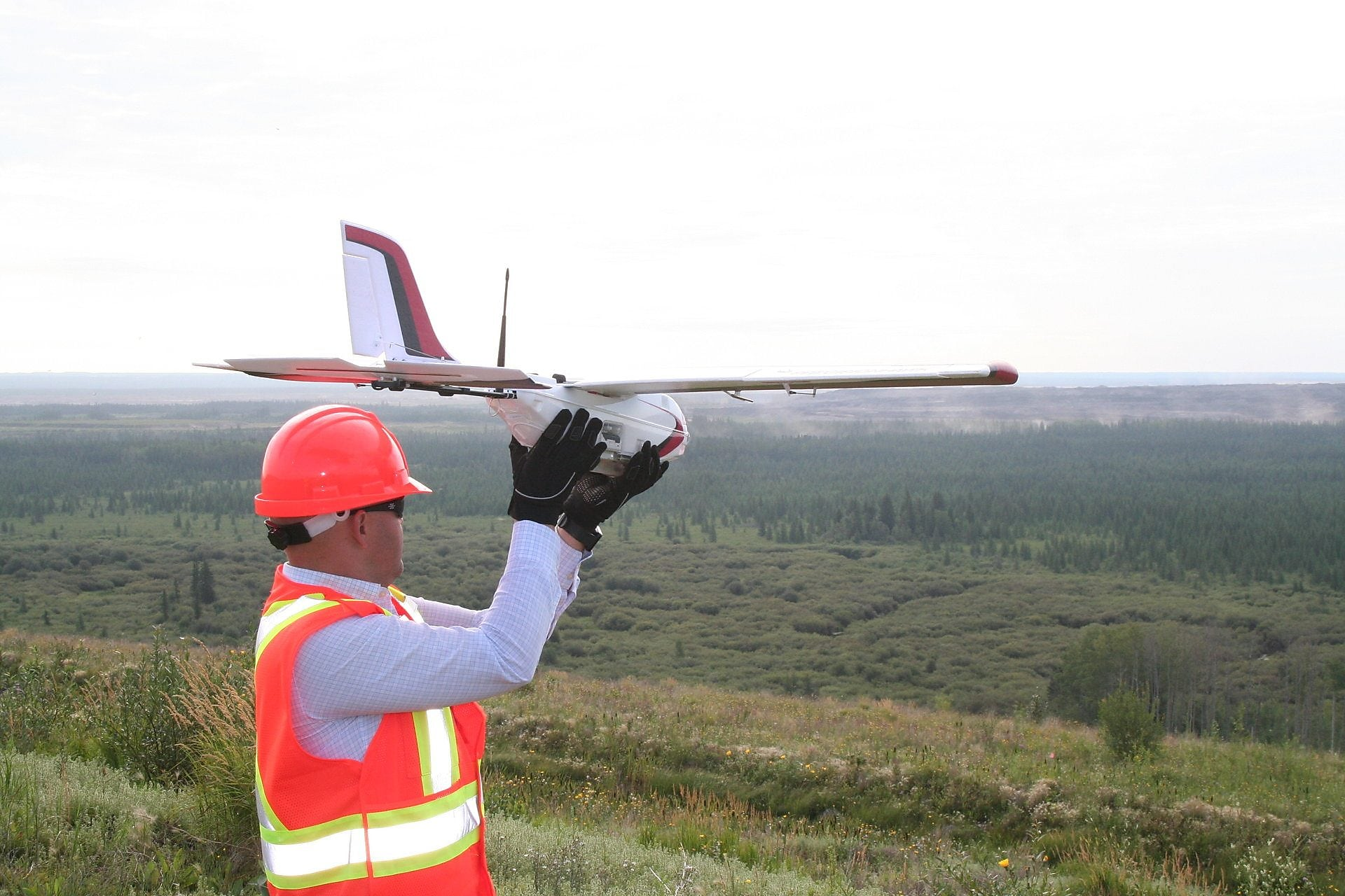 A member of the UAV team prepares to use the new UAV aircraft technology.
