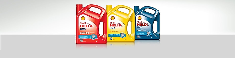 Gamme d'huiles Shell Helix High Mileage